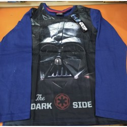 Camiseta Manga Larga Niño Azul y Negra Darth Vader Star Wars
