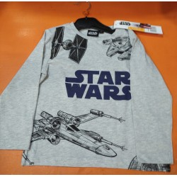 Camiseta Manga Larga Niño Gris Naves Star Wars